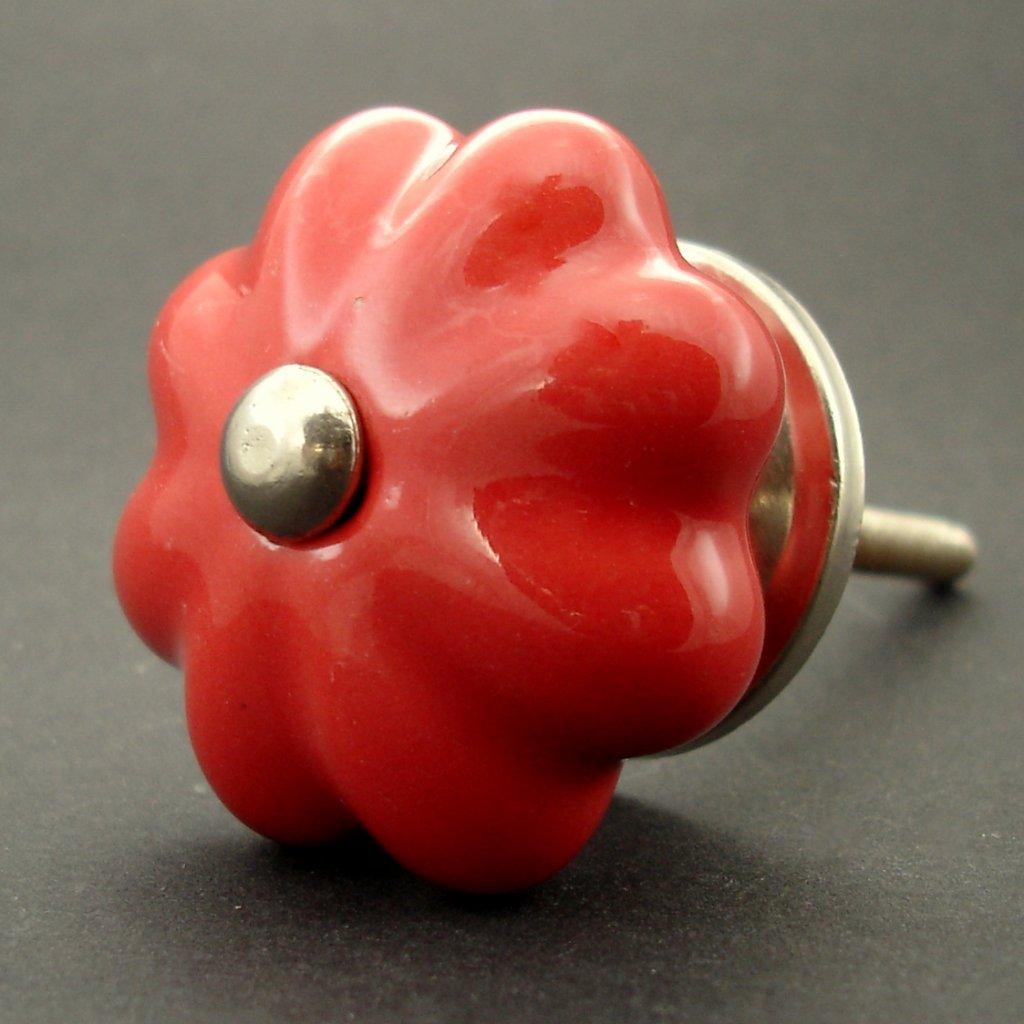 Keramická úchytka-Červený květ