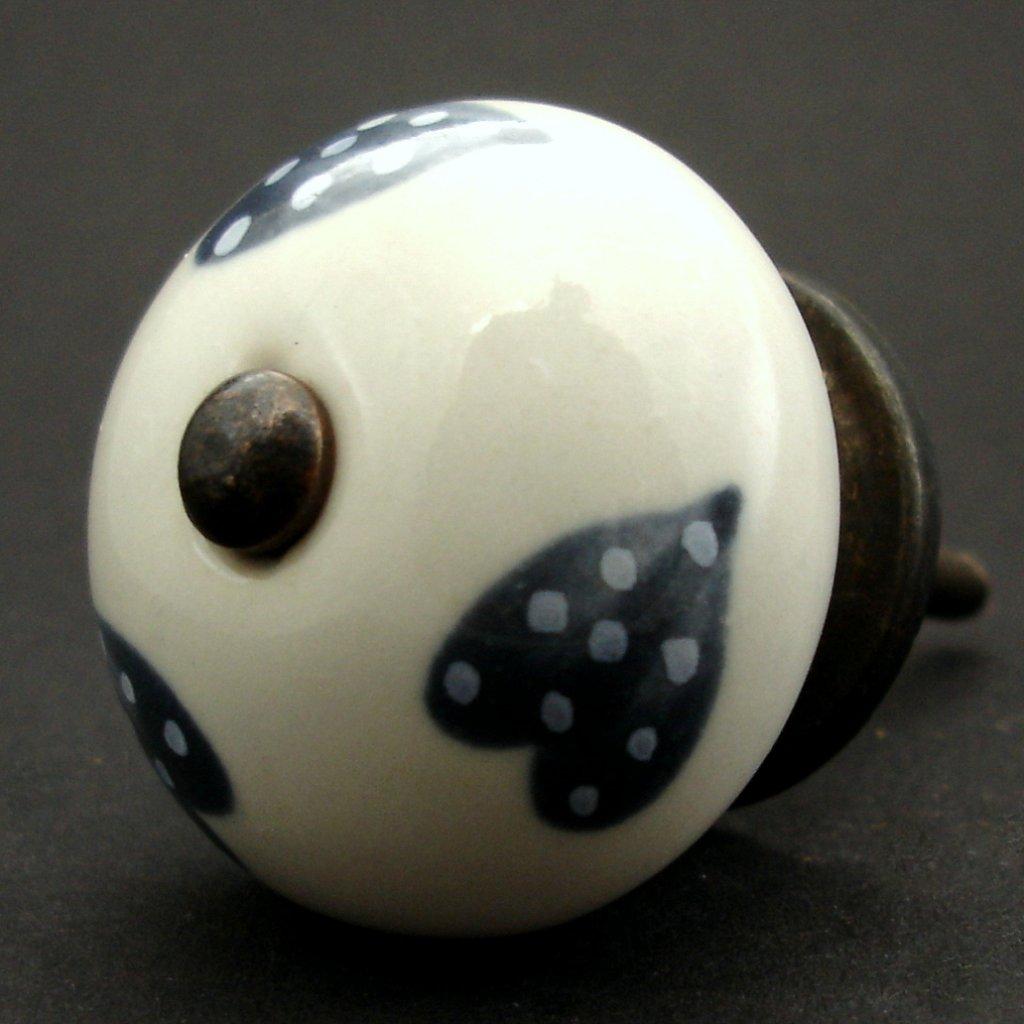 Keramická úchytka-Šedá srdíčka puntíkatá