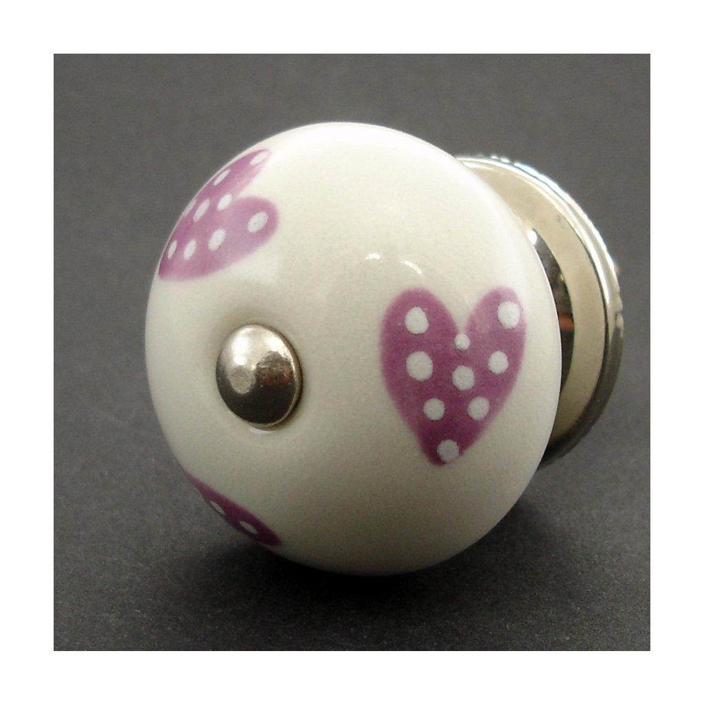 Keramická úchytka-Lila srdíčka puntíkatá