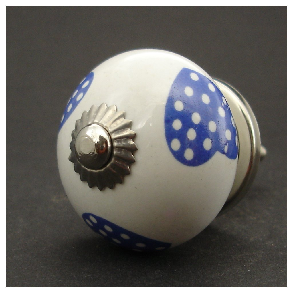 Keramická úchytka-Modrá tmavá srdíčka-POTISK