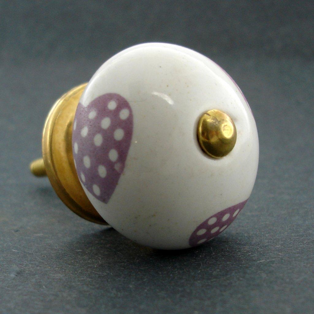 Keramická úchytka-Fialová srdíčka-POTISK