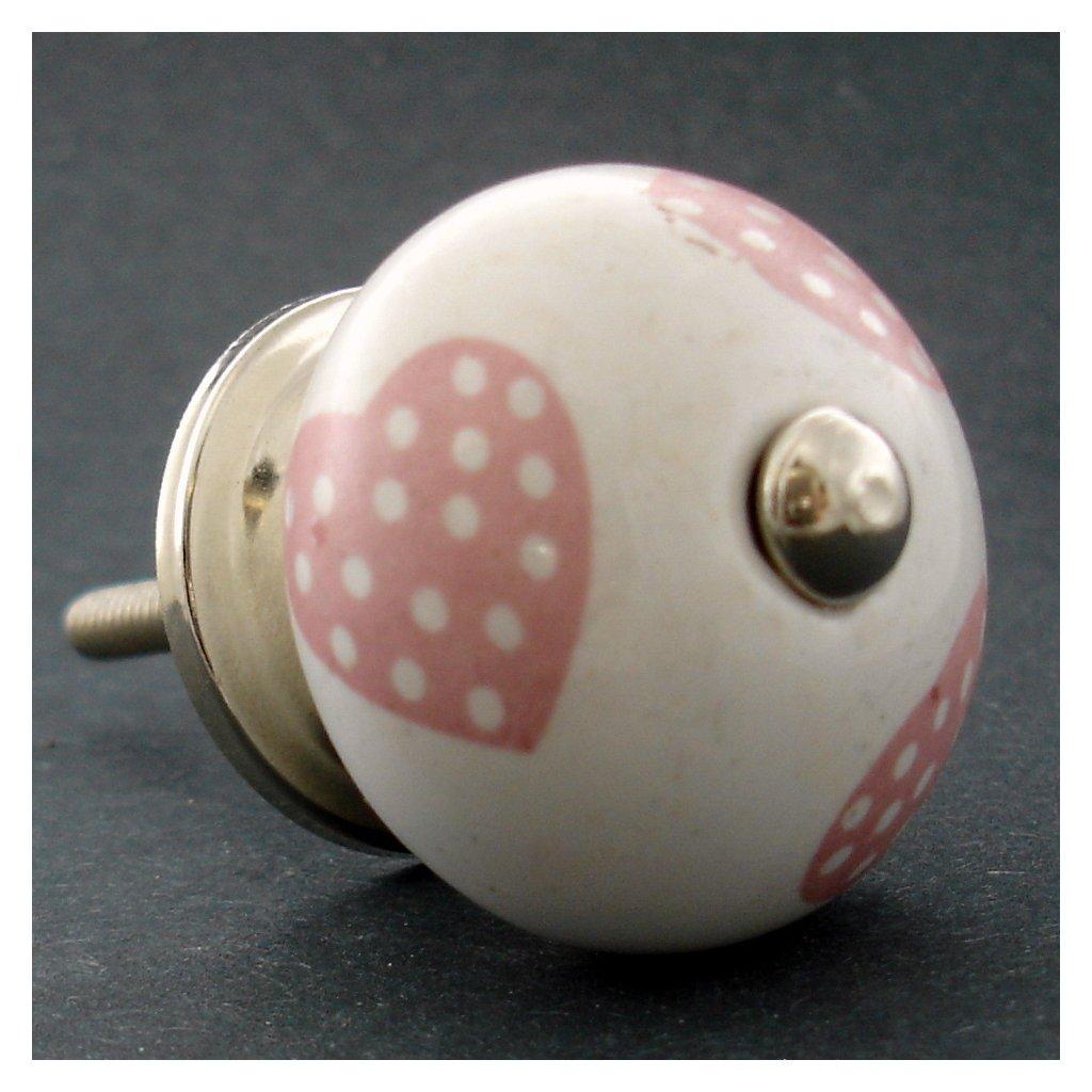 Keramická úchytka-Růžová srdíčka-POTISK