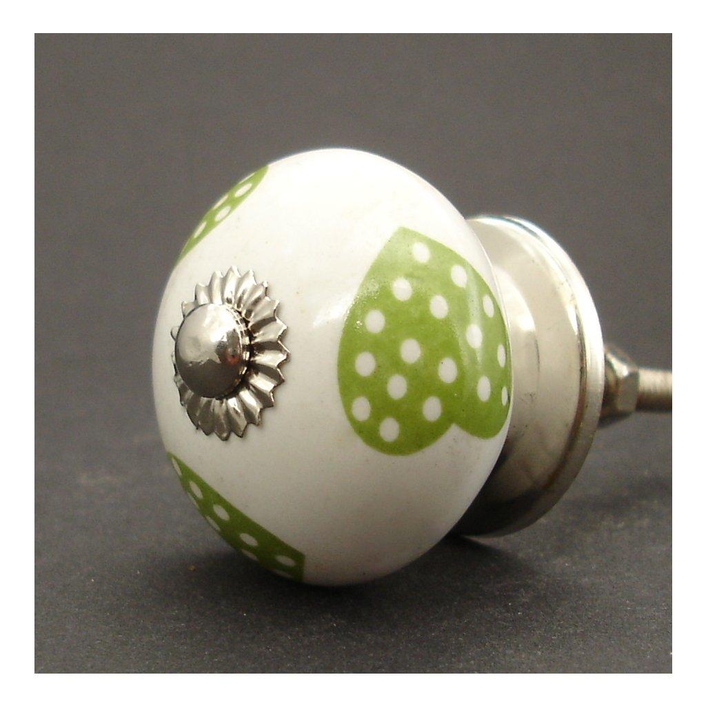 Keramická úchytka-Zelená srdíčka-POTISK