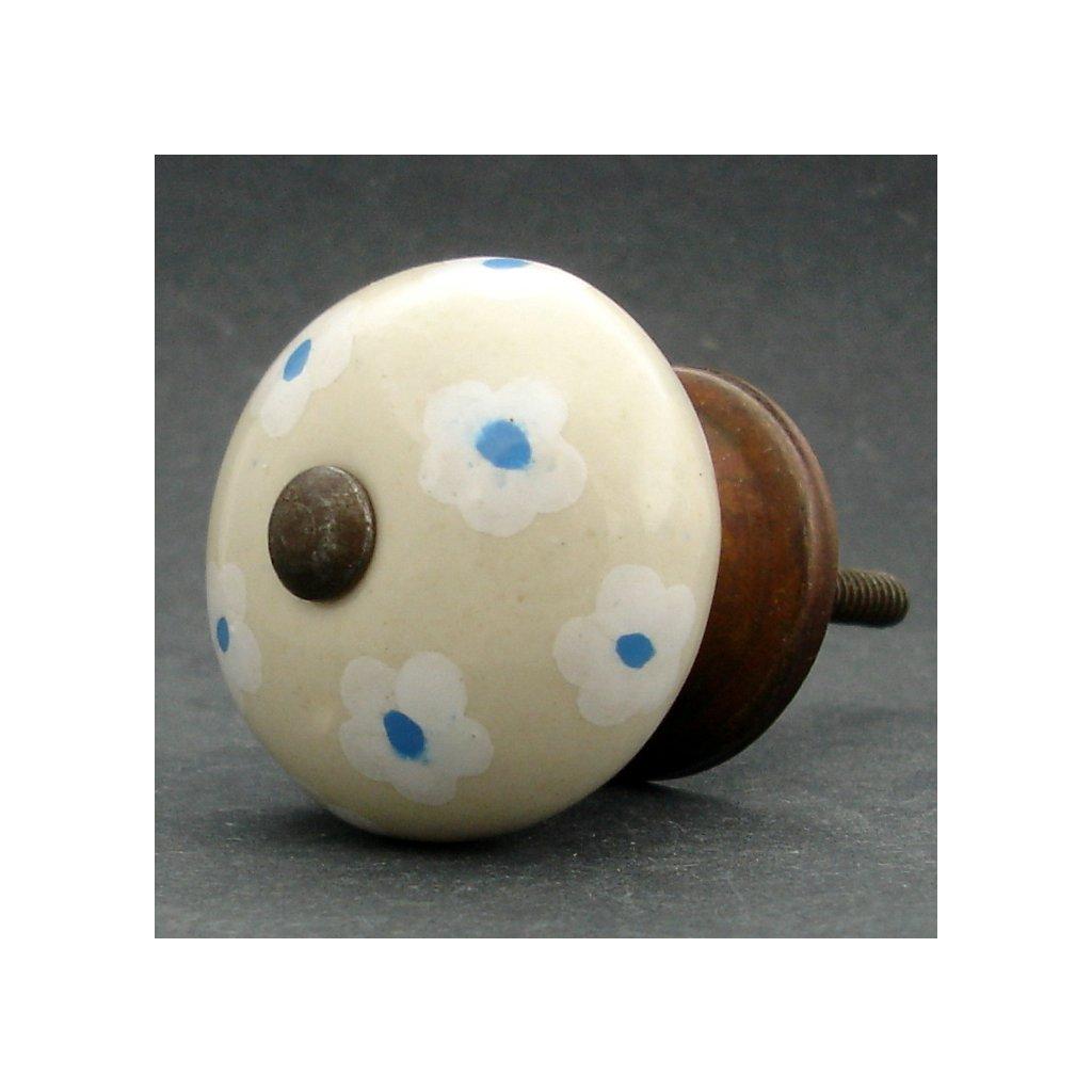 Keramická úchytka -Krásnoočko krémové
