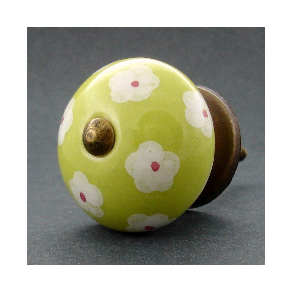 Keramická úchytka -Krásnoočko žlutozelené