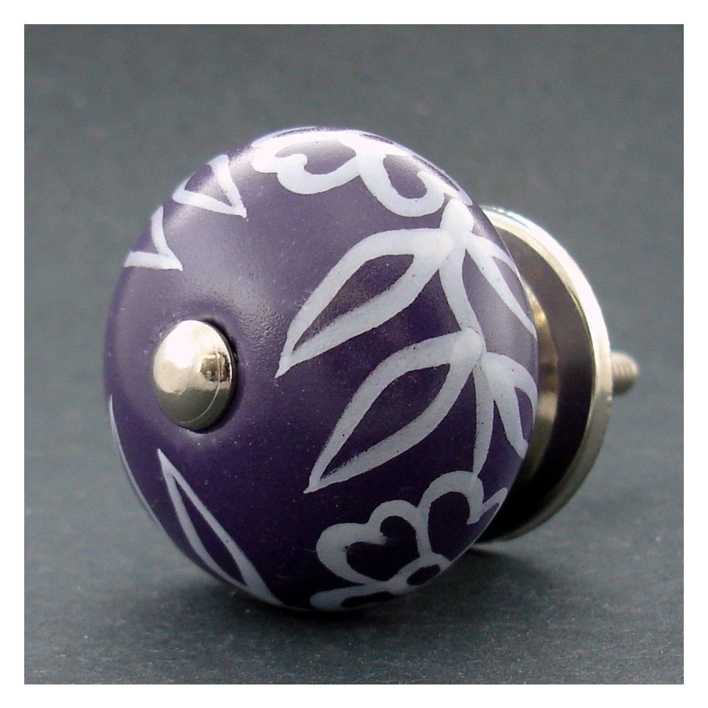 Keramická úchytka -Povíjnice fialová