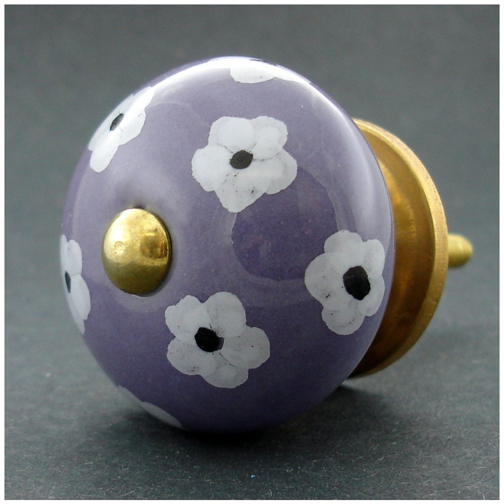 Keramická úchytka -Krásnoočko fialové