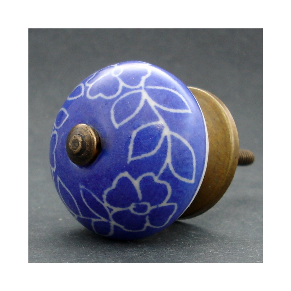 Keramická úchytka -Povíjnice modrá tmavá rytá