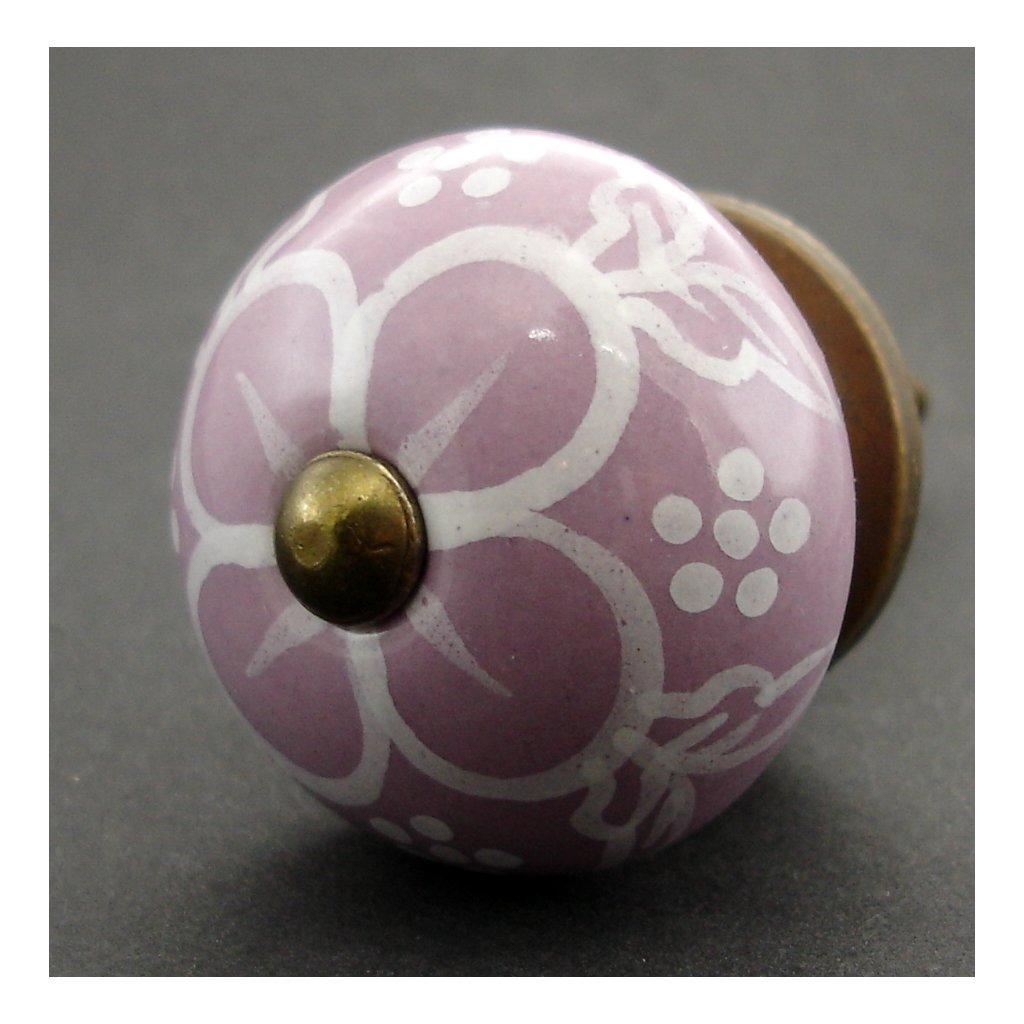 Keramická úchytka -Pivoňka lila