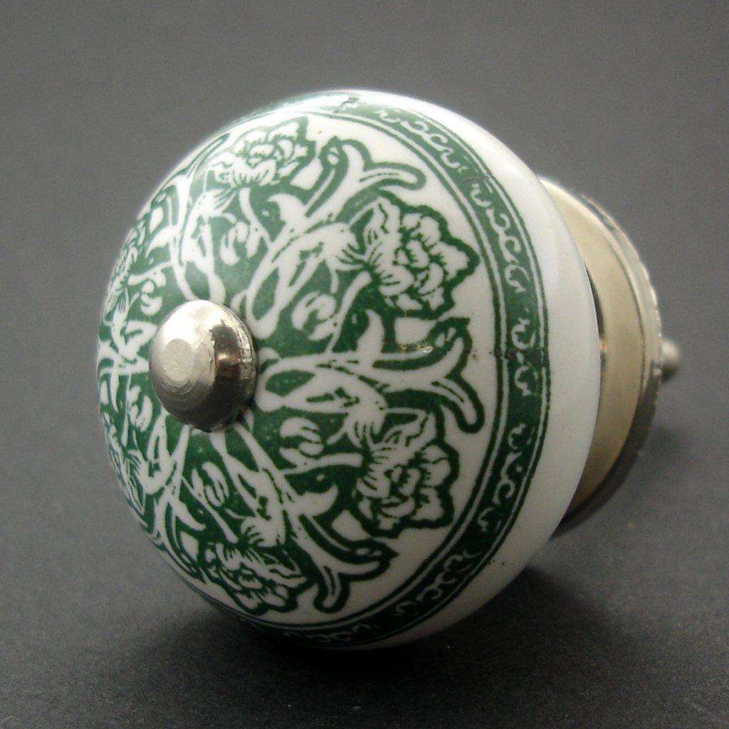 Keramická úchytka-Zelený ornament-POTISK