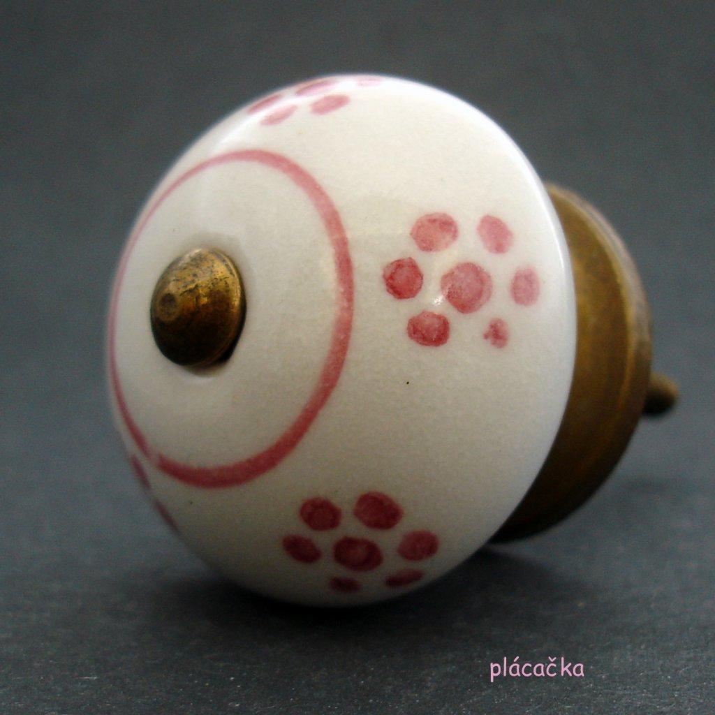 Keramická úchytka -Sedmikráska s růžovými kvítky