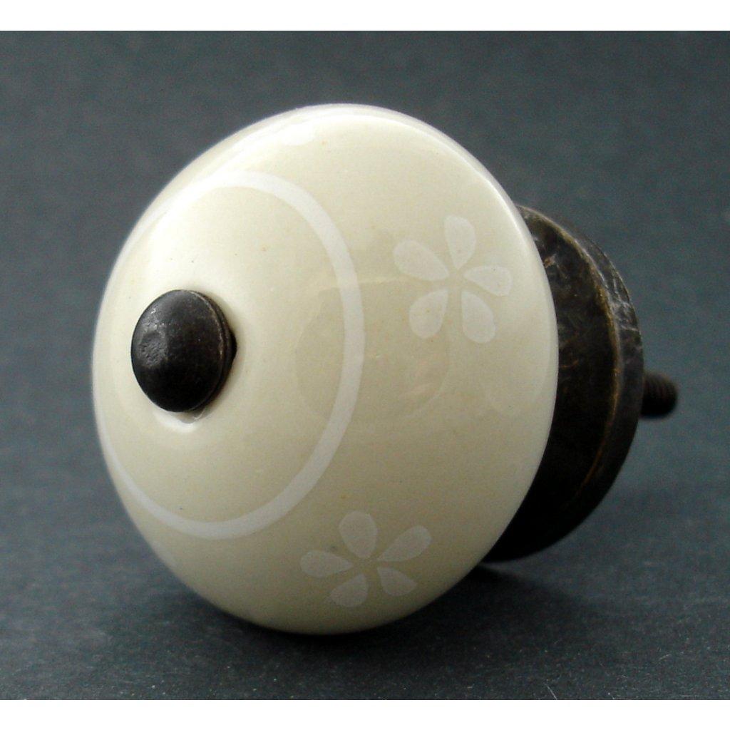 Keramická úchytka -Pomněnka krémová