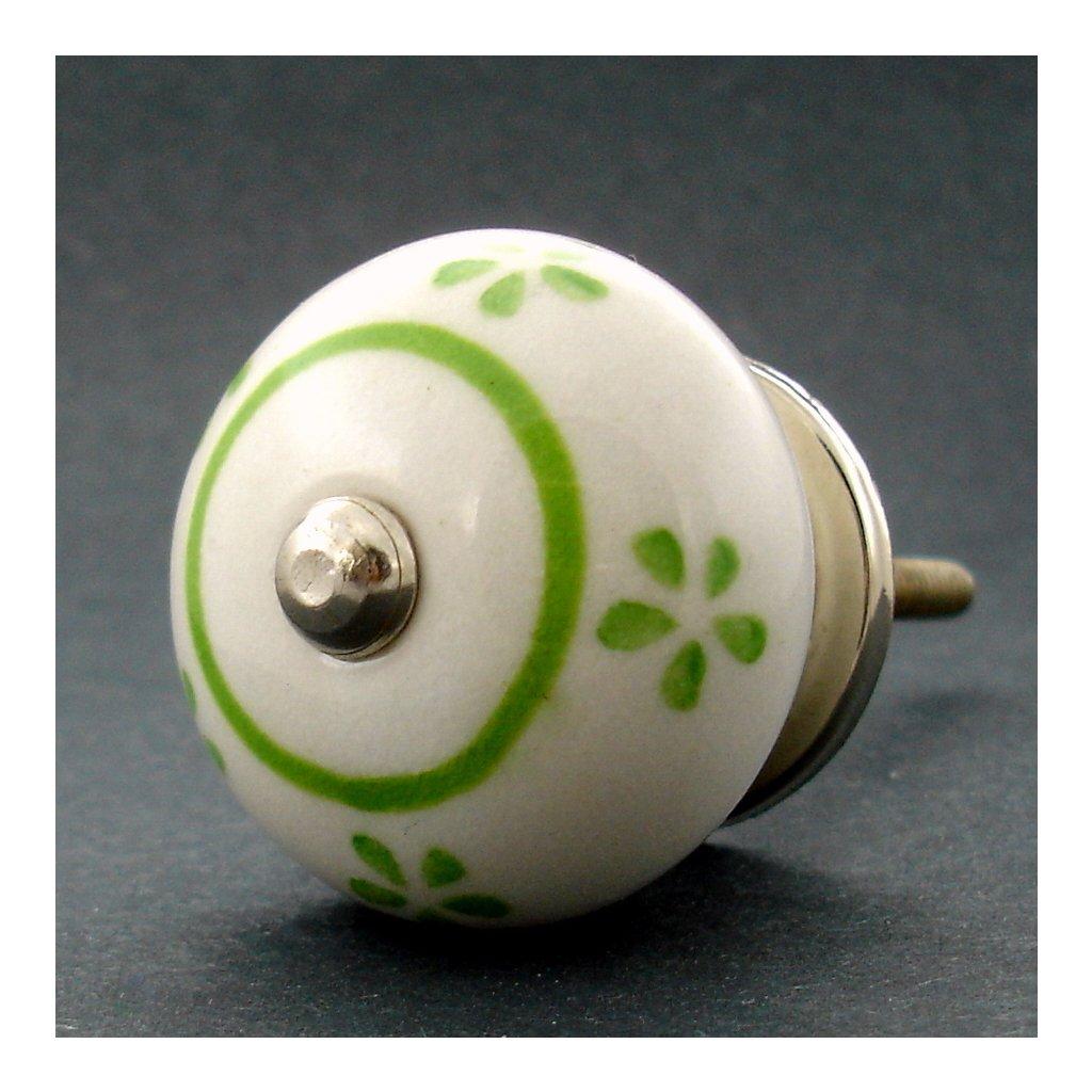 Keramická úchytka -Pomněnka se zelenými kvítky
