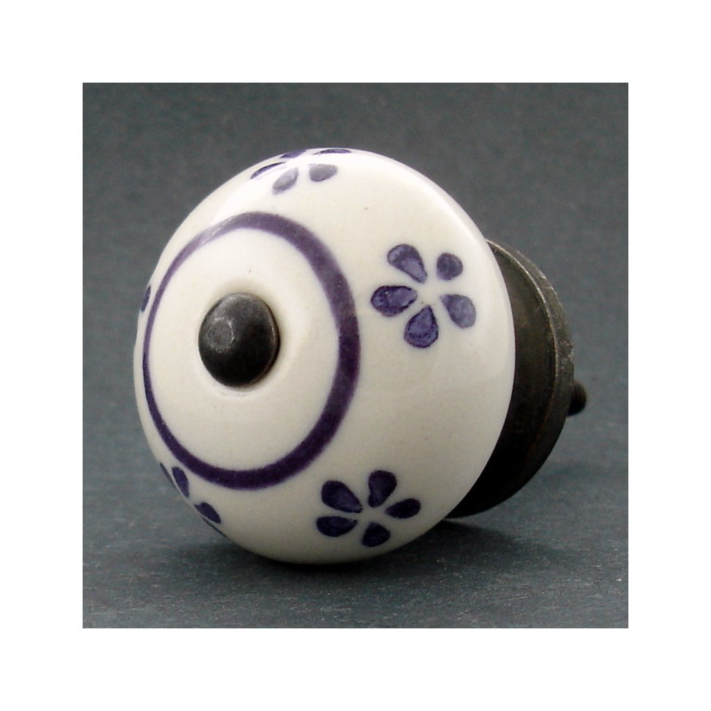 Keramická úchytka -Pomněnka s fialovými kvítky