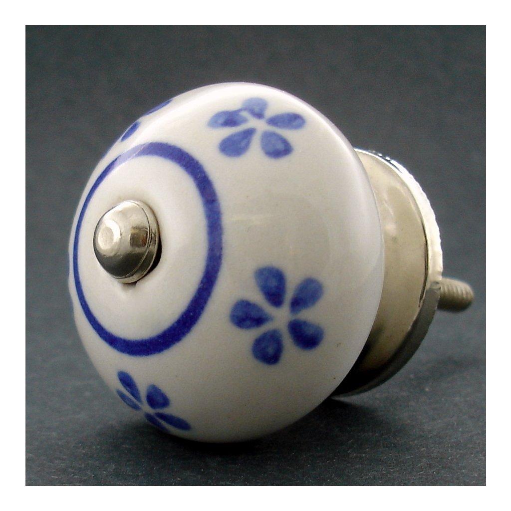 Keramická úchytka -Pomněnka s modrými kvítky
