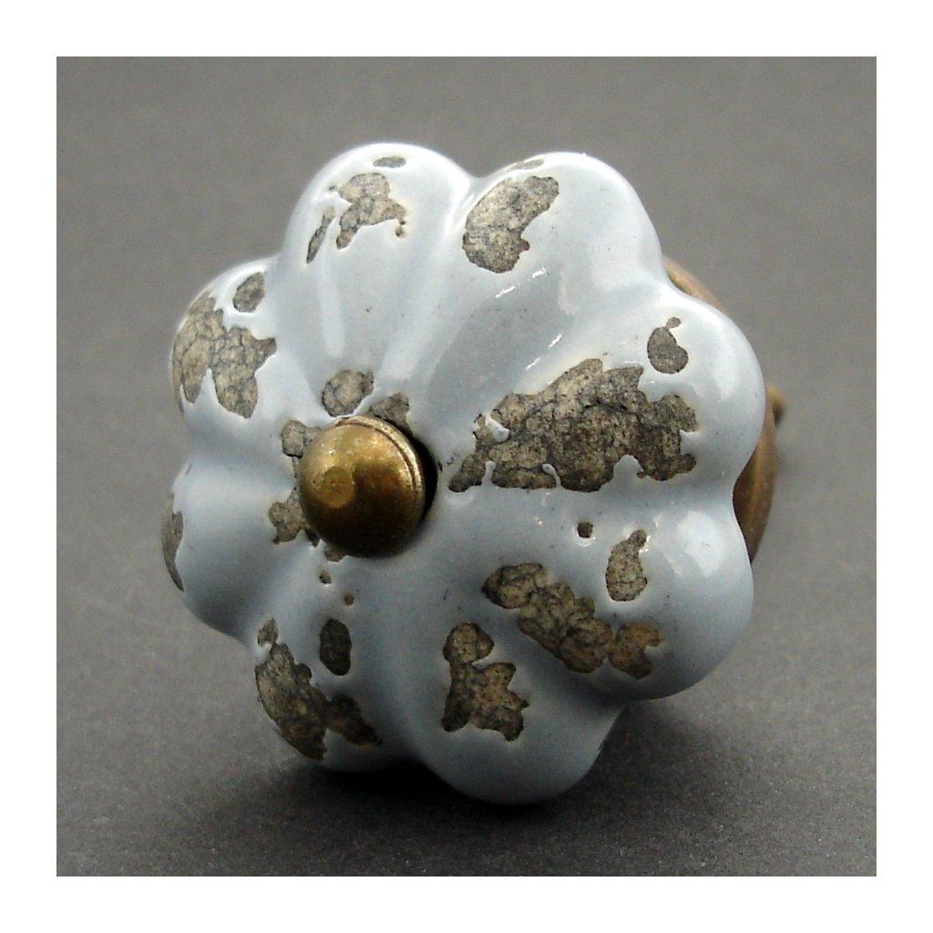 Keramická úchytka-Šedý květ s patinou