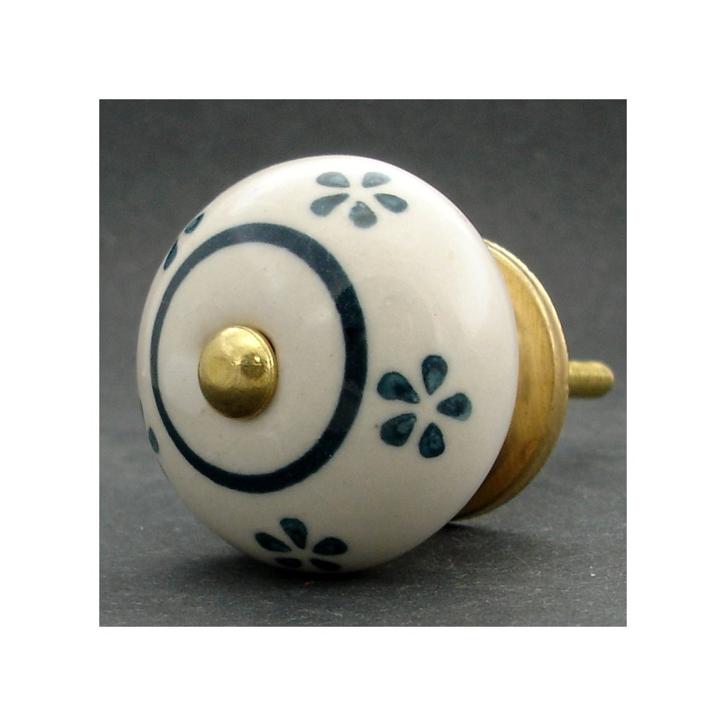 Keramická úchytka -Pomněnka s petrolejovými kvítky