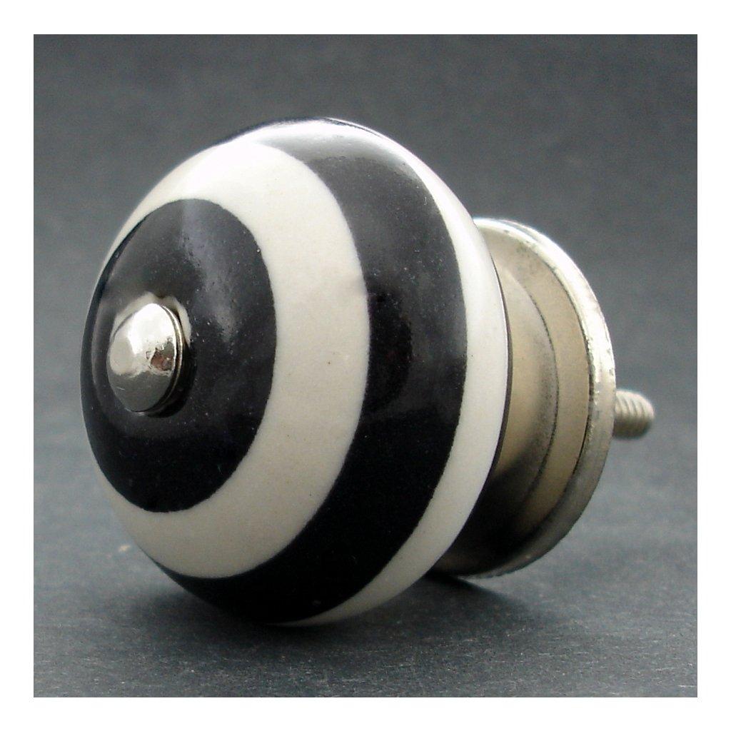 Keramická úchytka -Černé pruhy