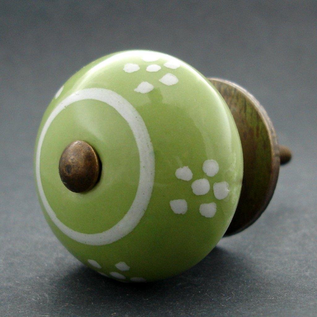 Keramická úchytka -Sedmikráska zelená