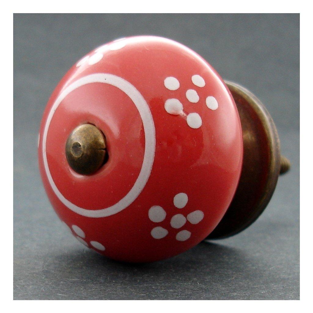 Keramická úchytka -Sedmikráska červená