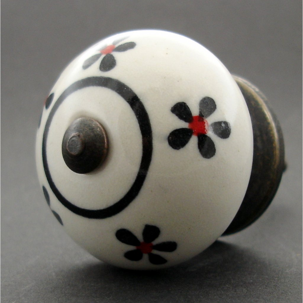 Keramická úchytka -Pomněnka s černočervenými kvítky