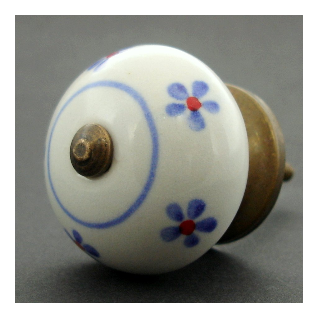 Keramická úchytka -Pomněnka s modročervenými kvítky