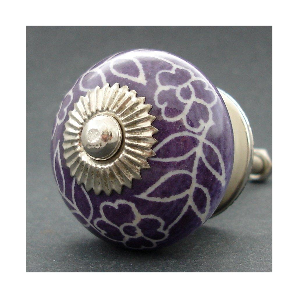 Keramická úchytka -Povíjnice fialová rytá