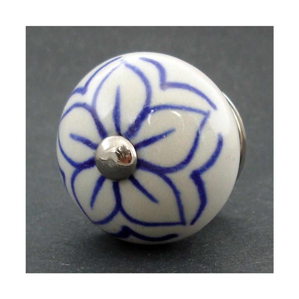 Keramická úchytka- Čemeřice modrá