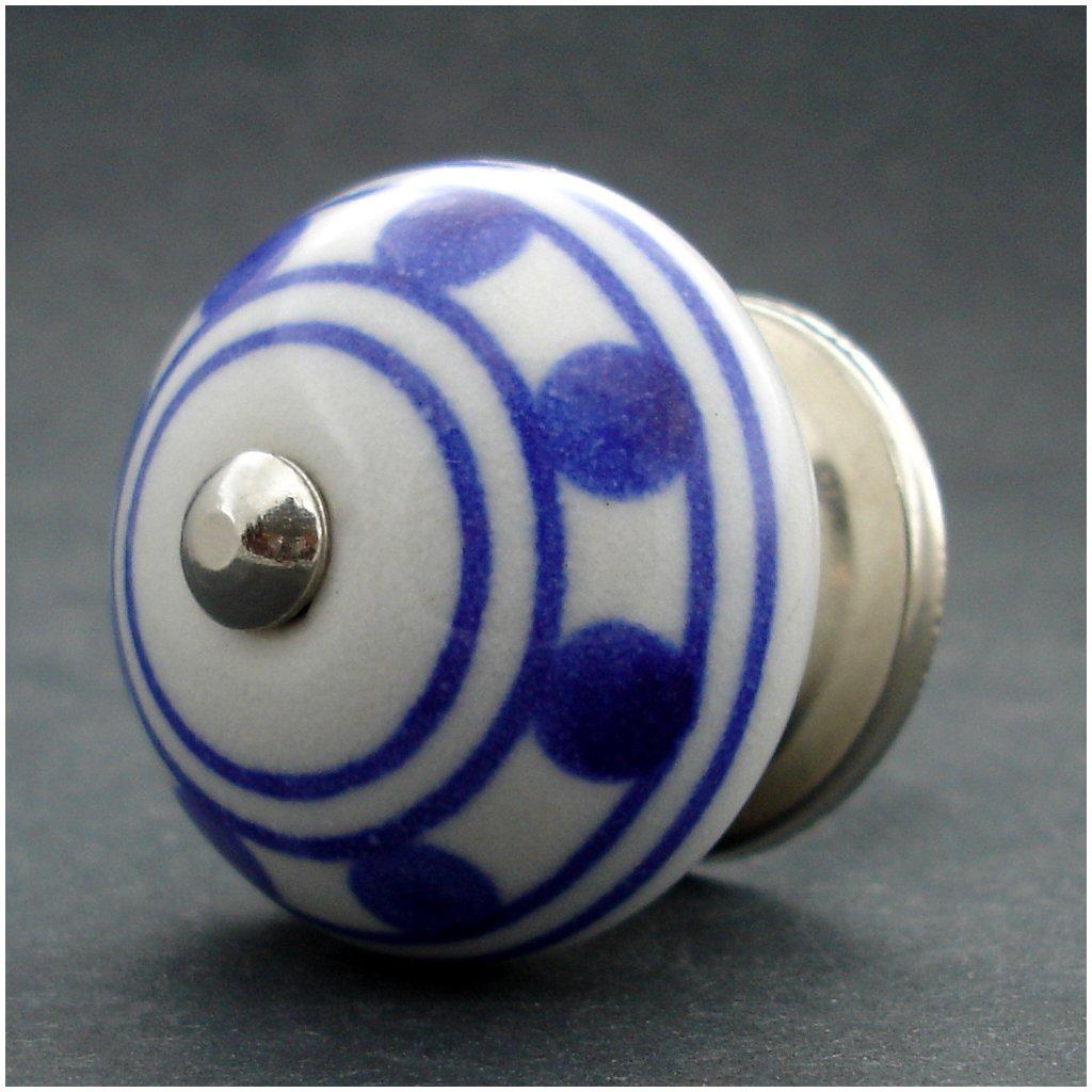 Keramická úchytka- Puntík modrý pruh