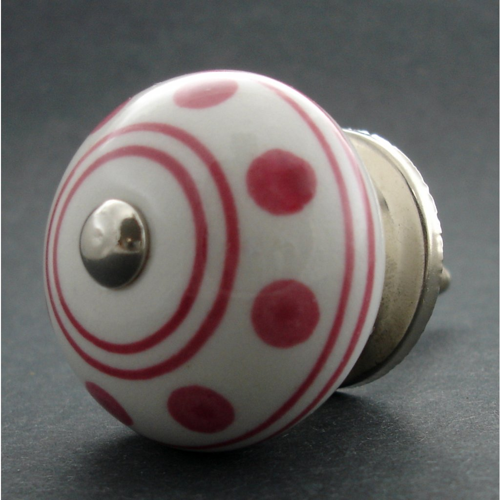Keramická úchytka- Puntík růžový pruh