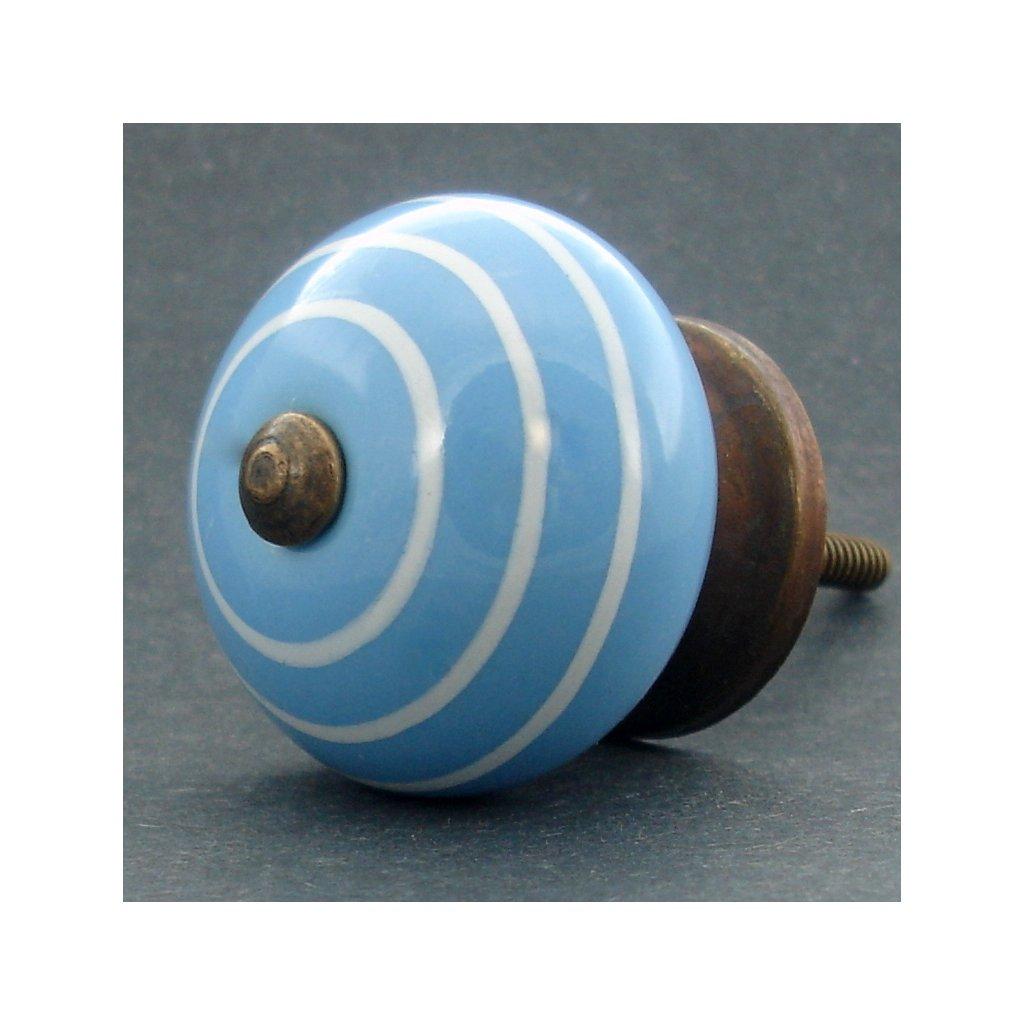 Keramická úchytka -Modrá s proužkem