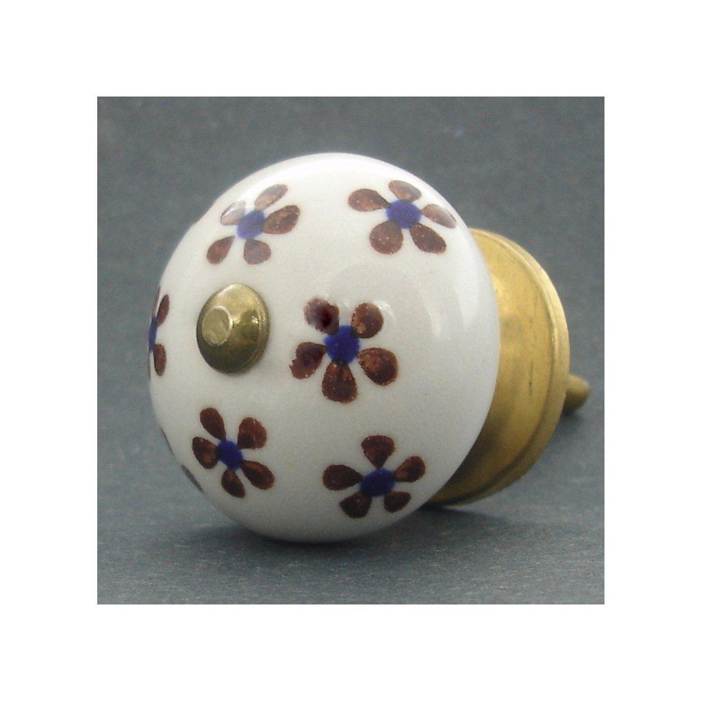 Keramická úchytka -Pomněnka shnědomodrými kvítky
