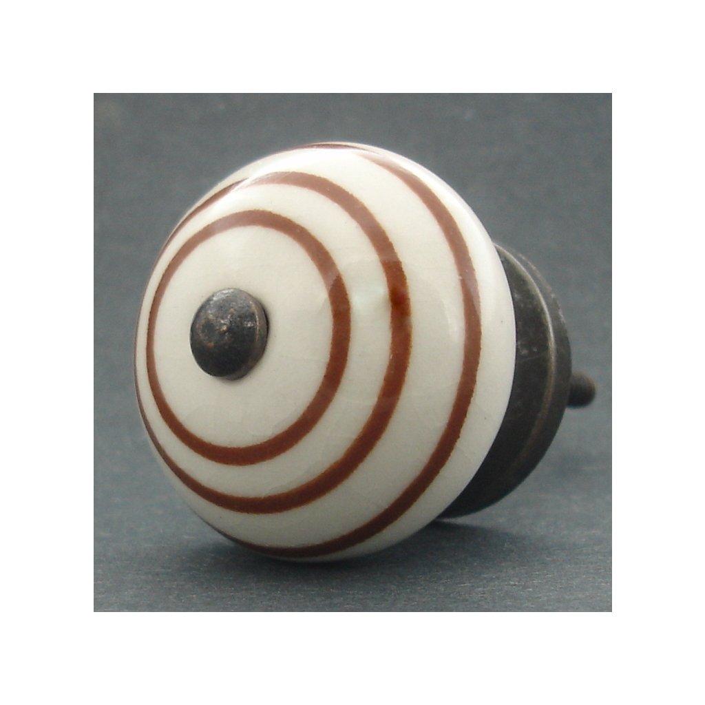Keramická úchytka-Hnědý proužek