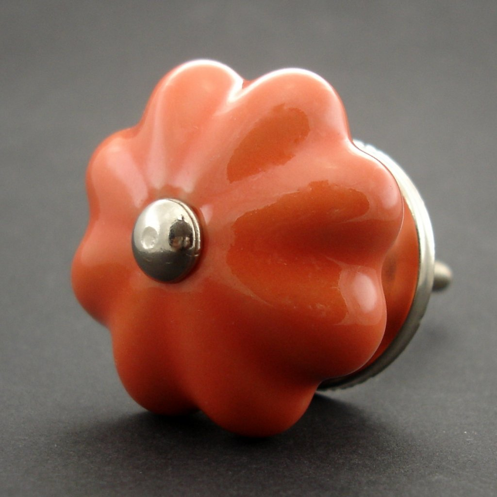 Keramická úchytka-Oranžový květ
