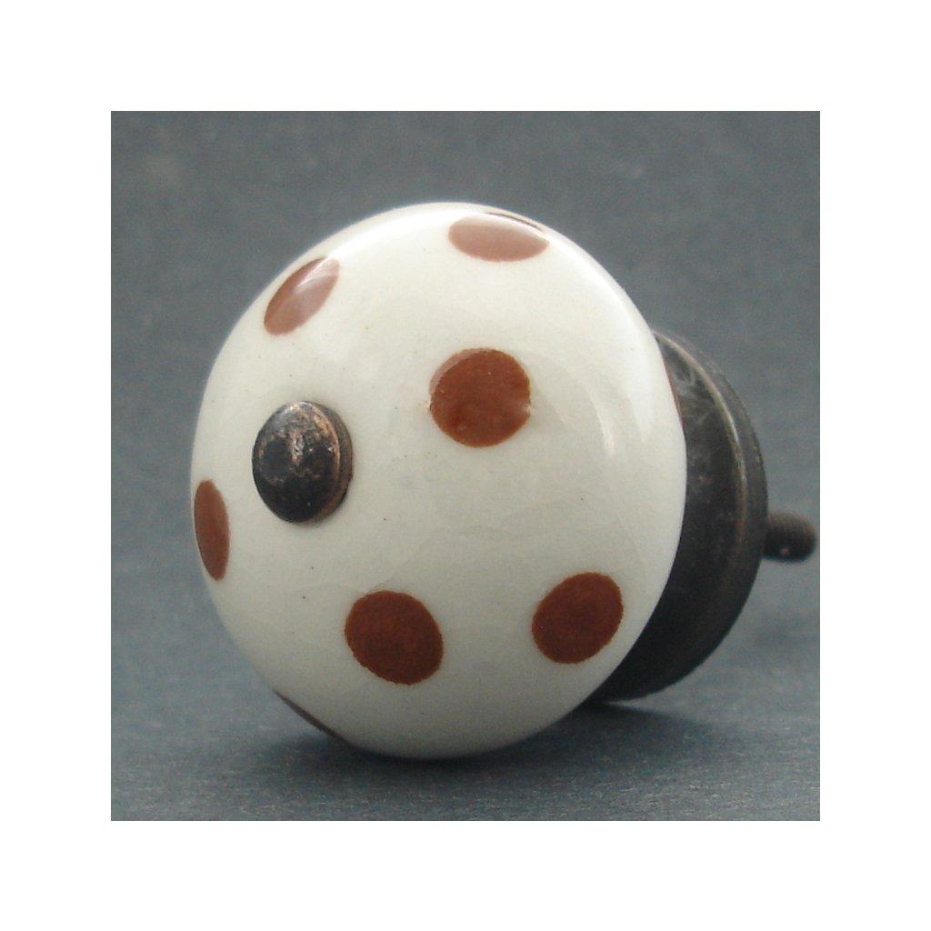 Keramická úchytka-Hnědý puntík