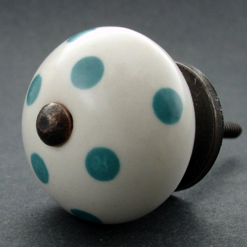 Keramická úchytka-Tyrkysový puntík