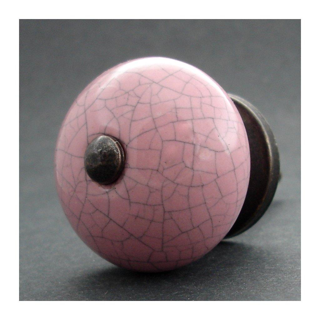 Keramická úchytka-Růžová crackle