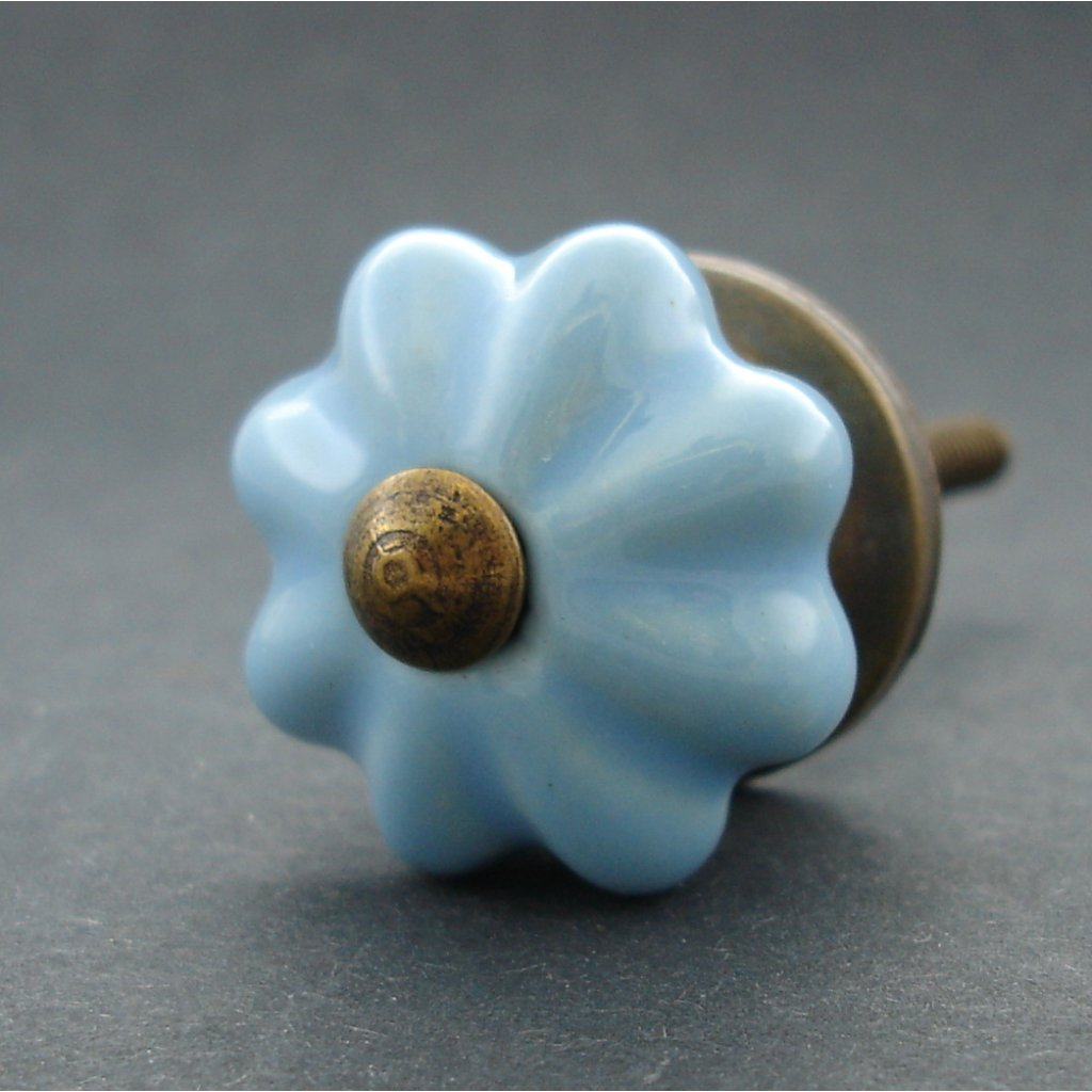Keramická úchytka-Modrá kytička-MALINKÁ