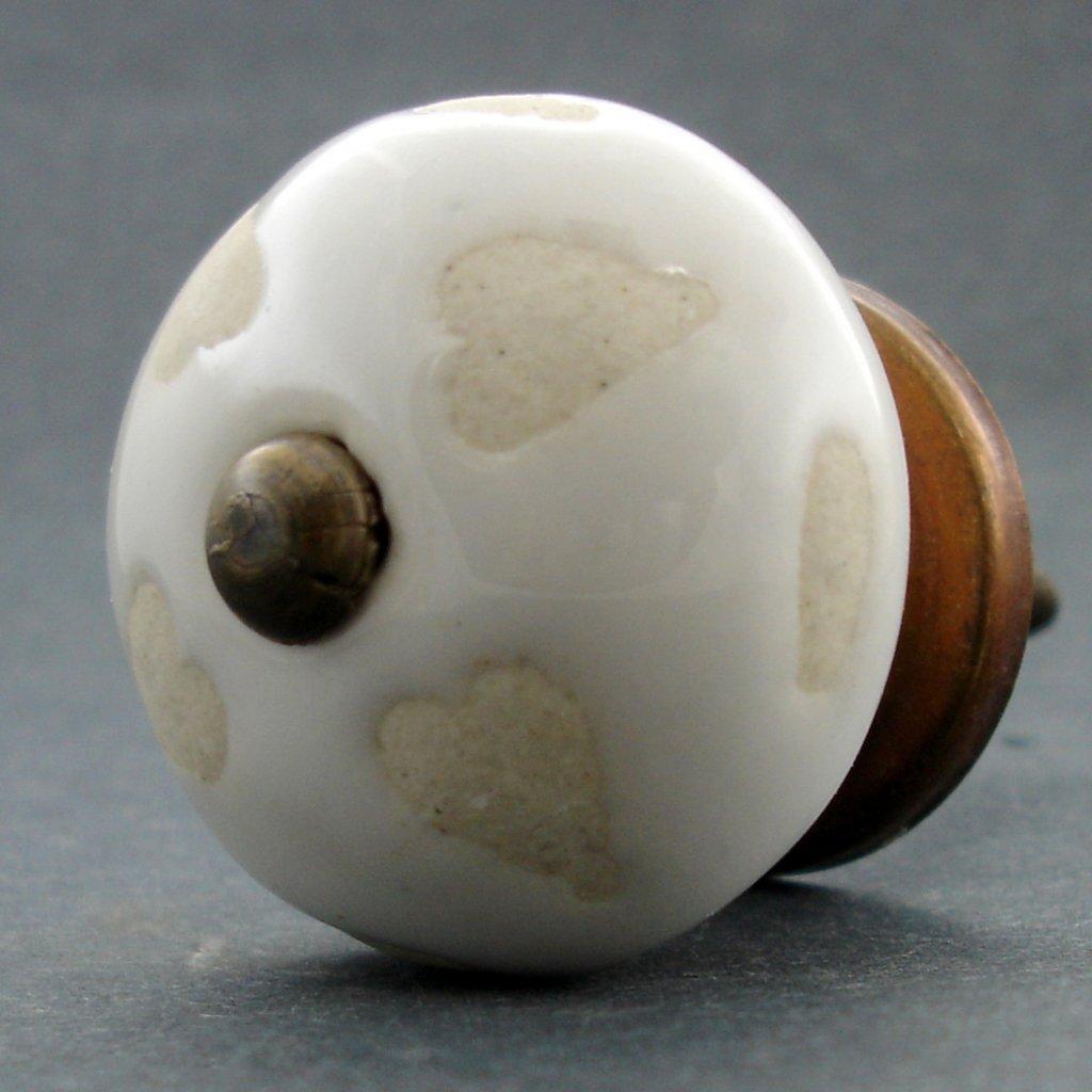 Keramická úchytka-Neglazovaná srdíčka-Bílá