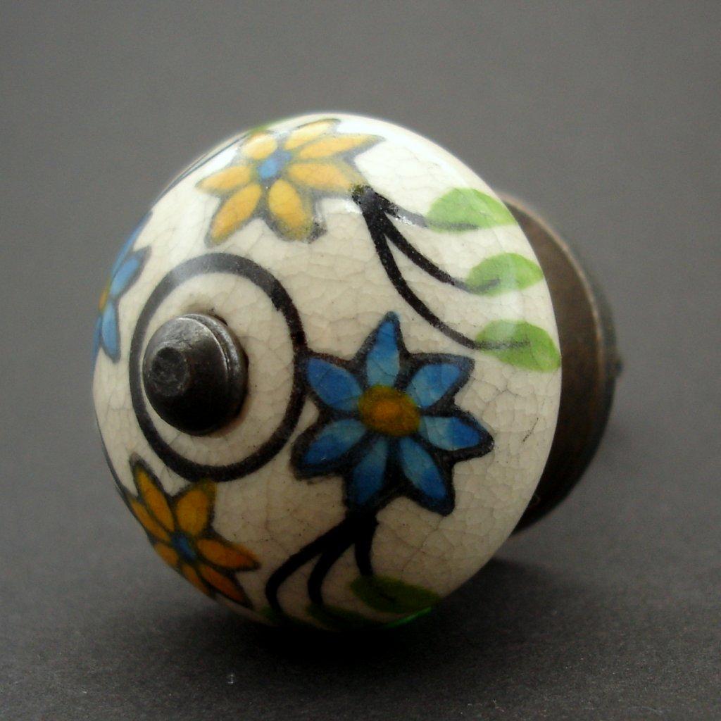 Keramická úchytka-Jarní květy