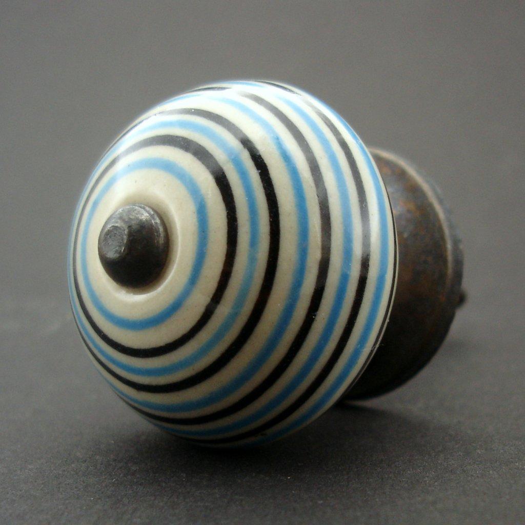 Keramická úchytka-Krémová s modrými proužky