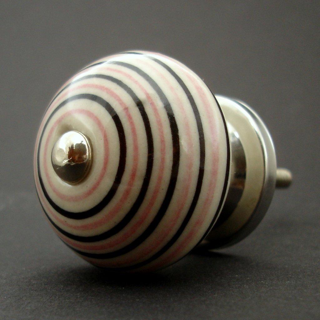 Keramická úchytka-Krémová s růžovými proužky