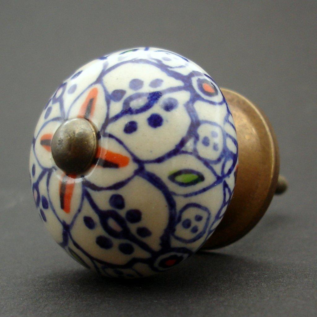 Keramická úchytka-Orient v tmavě modré