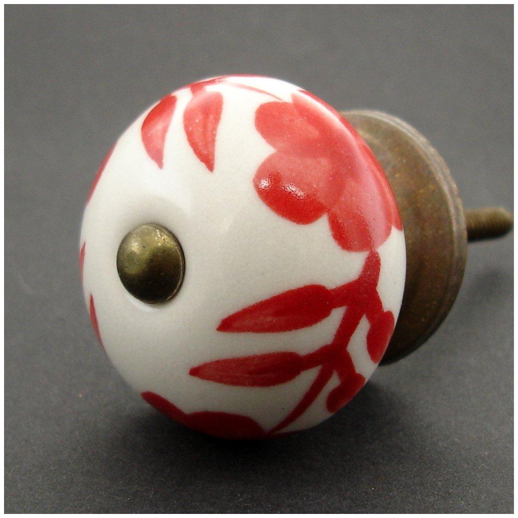 Keramická úchytka -Ibišek červený