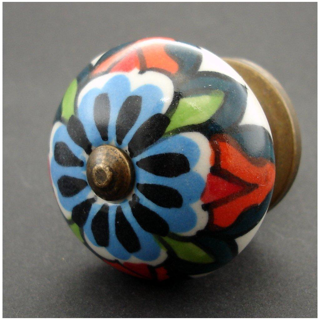 Keramická úchytka -Divoké květy