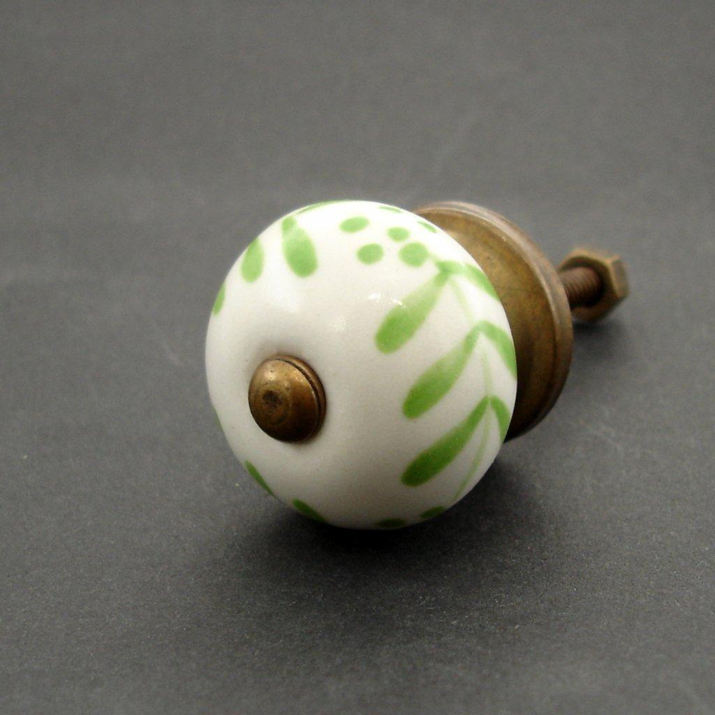 Keramická úchytka- Zelené kytičky-MALÁ