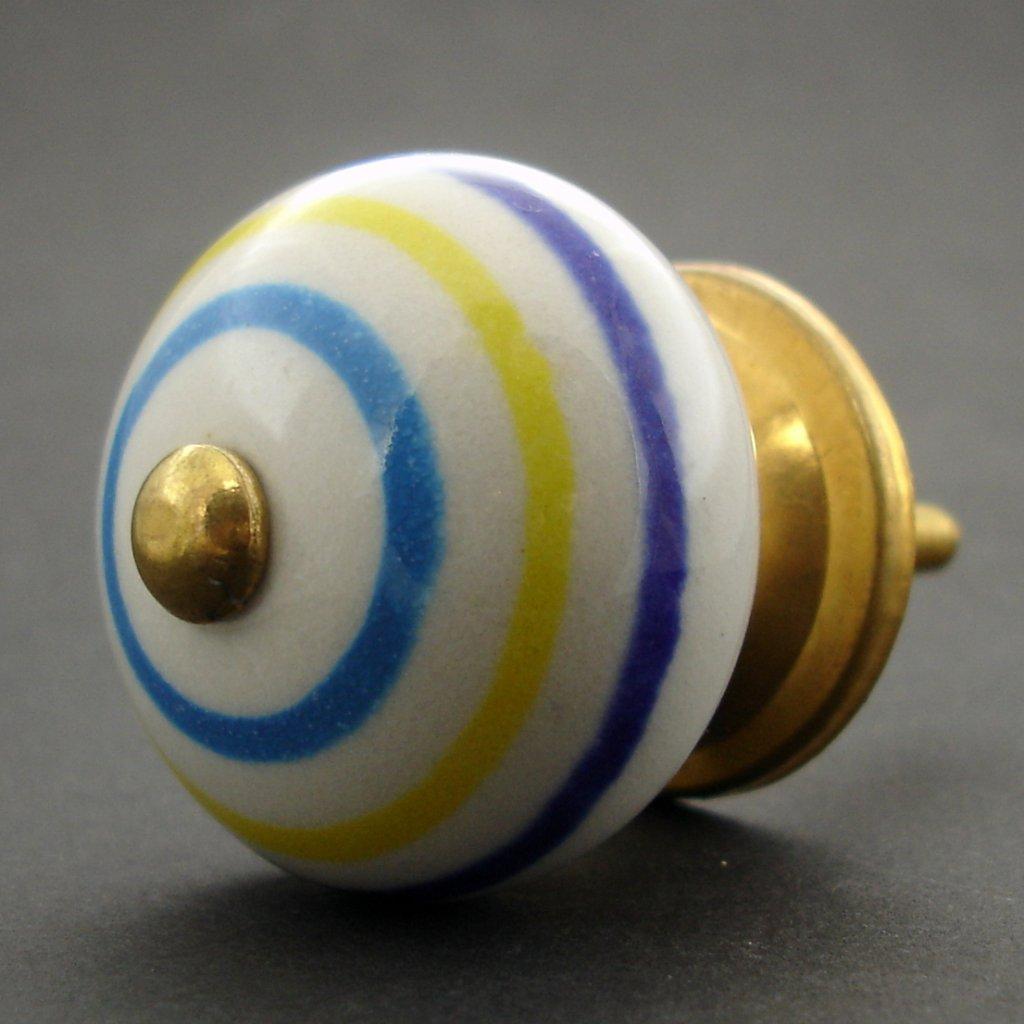 Keramická úchytka-Modré a žluté proužky