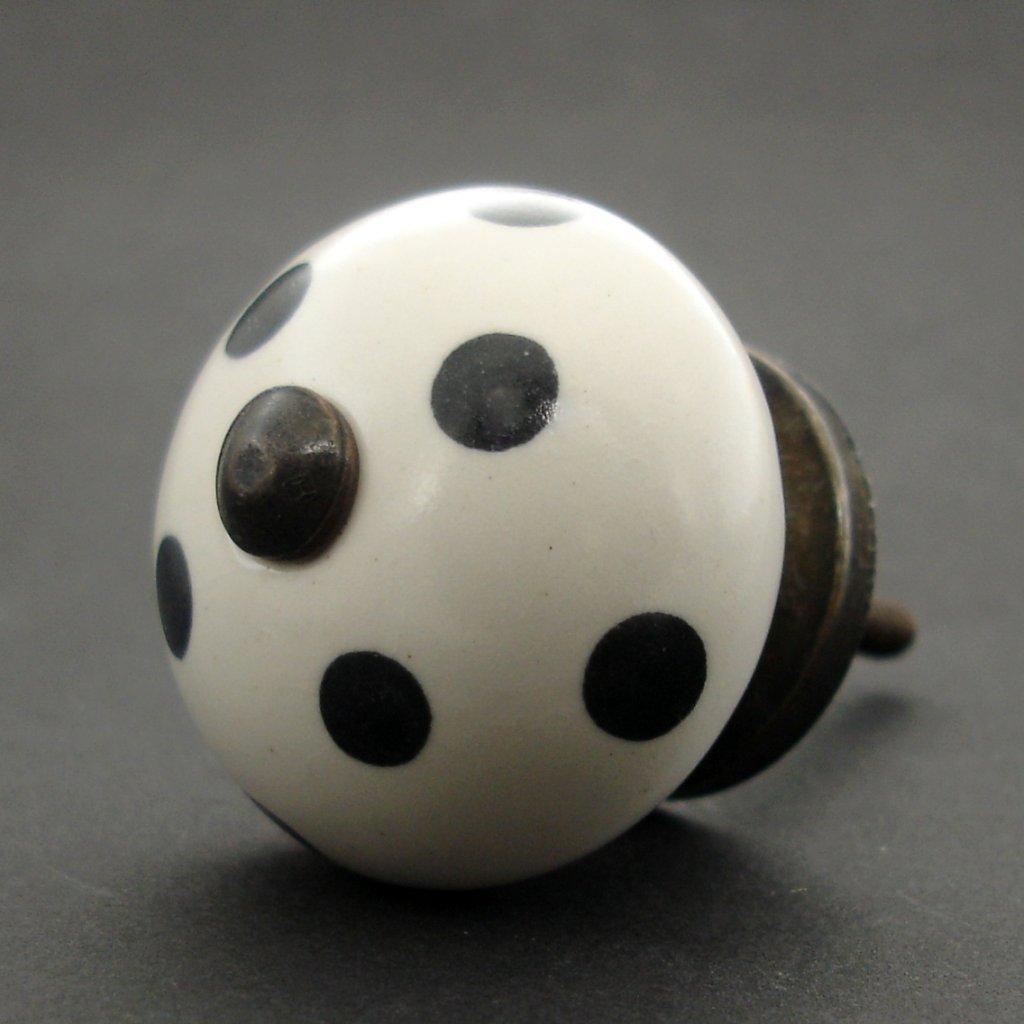 Keramická úchytka-Černý puntík