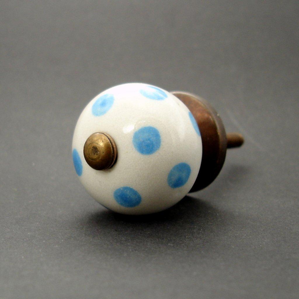 Keramická úchytka-Modré puntíky-MALÁ