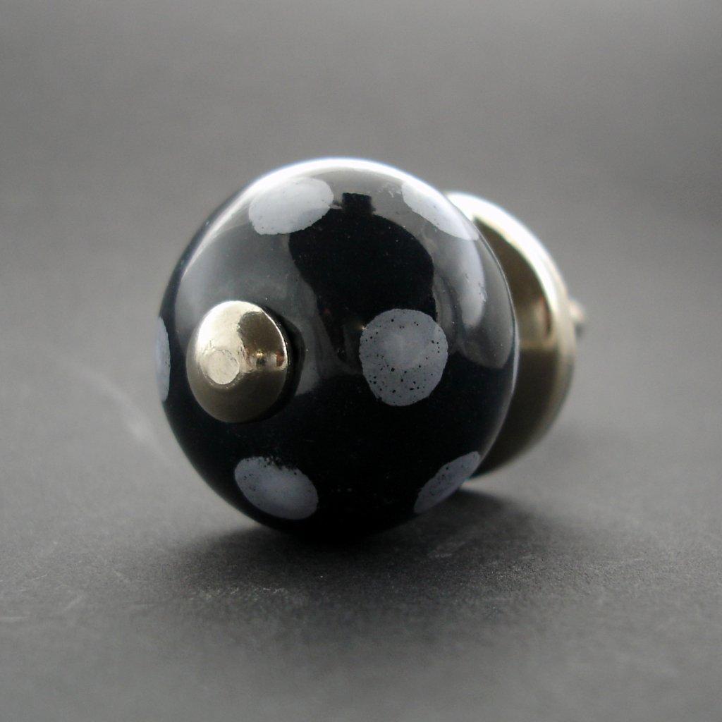 Keramická úchytka-Černá s puntíky-MALÁ